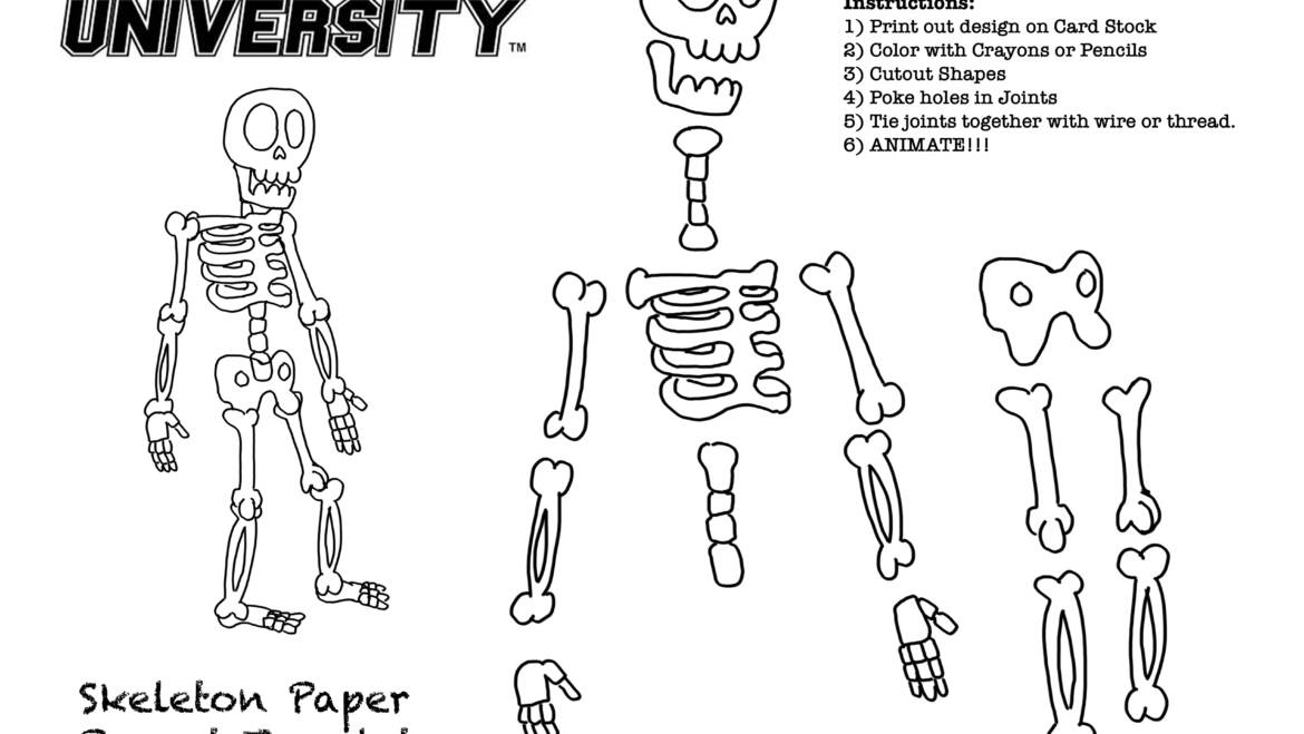 OCTOBER!!! Skeleton Paper Puppet Template for EVERYONE!!!
